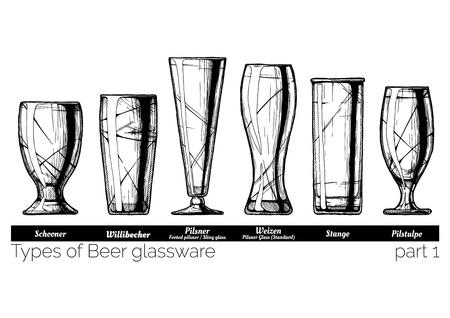 Types of Beer glassware. Schooner, willibecher, pilsner, weizen, stange and pilstulpe glasses. illustration of stemwares in vintage engraved style. isolated on white background.