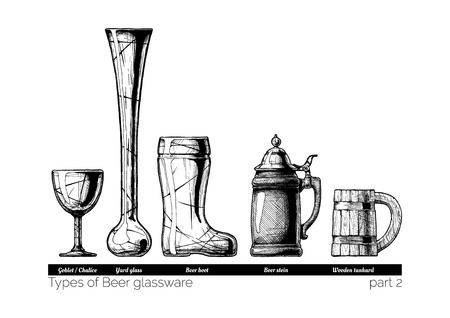 handled: Types of Beer glassware. Goblet, Yard glass, Beer boot, stein and wooden tankard. illustration of stemwares in vintage engraved style. isolated on white background.