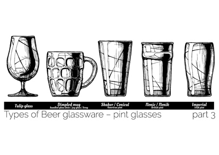 Types of Beer glassware, pint glasses. Tulip, dimpled, conical, nonic and imperial pints. illustration of stemwares in vintage engraved style. isolated on white background.