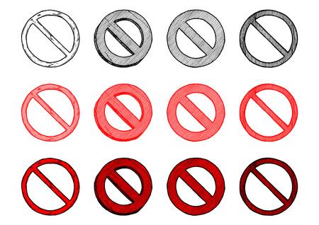 Vector hand drawn illustration of circle-backslash symbol set in vintage engraved style. isolated on white background. Ilustracja