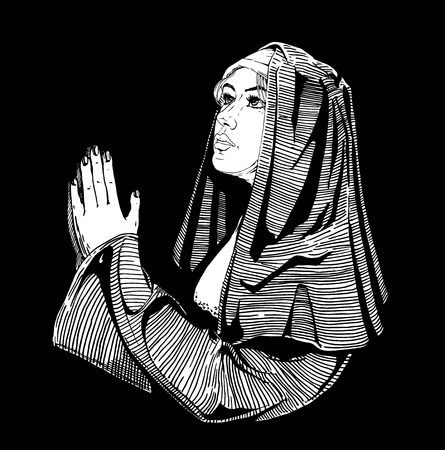 ベクトルは手刻まれたヴィンテージスタイルの修道女が祈りの描き下ろしイラストです。黒の背景上に分離。
