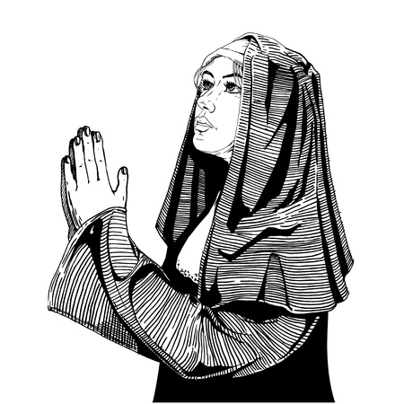 Vector hand drawn illustration of praying nun in vintage engraved style. isolated on white background. Illustration