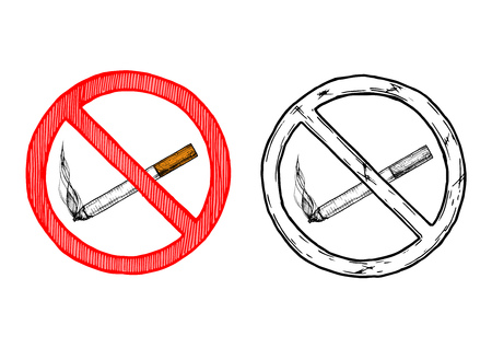 No smoking sign. Vector hand drawn illustration in vintage engraved style. isolated on white background. Zdjęcie Seryjne - 81762063