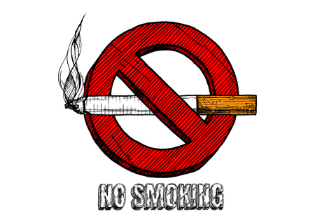 No smoking sign. Vector hand drawn illustration in vintage engraved style. isolated on white background.  イラスト・ベクター素材