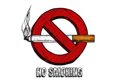 """Verboden te roken"""" bordje. Vector hand getrokken illustratie in vintage gegraveerde stijl. geïsoleerd op witte achtergrond."""