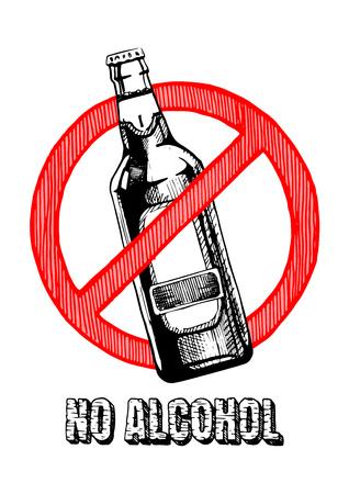 Geen alcoholteken. Vector hand getrokken illustratie in vintage gegraveerde stijl. geïsoleerd op witte achtergrond. Stock Illustratie