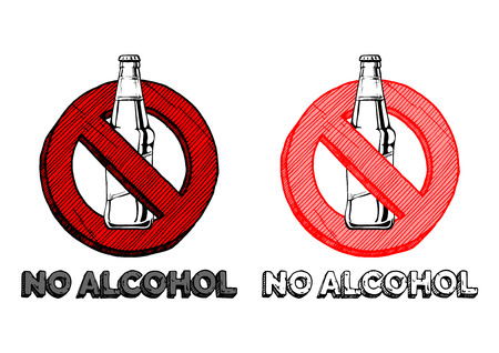 No alcohol sign set. Vector hand drawn illustration in vintage engraved style. isolated on white background.