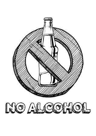 No alcohol sign. Black and white hand drawn illustration in vintage engraved style. Ilustracja