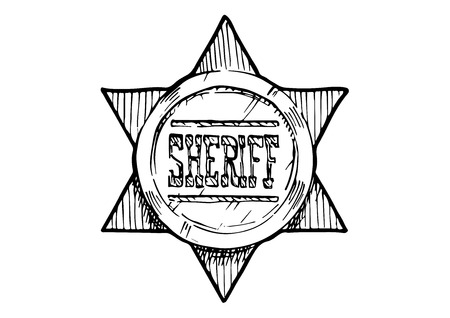 Vector hand drawn illustration of Sheriff star in vintage engraved style. isolated on white background. Illustration