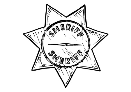 ranger: Vector hand drawn illustration of Sheriff star in vintage engraved style. isolated on white background. Illustration