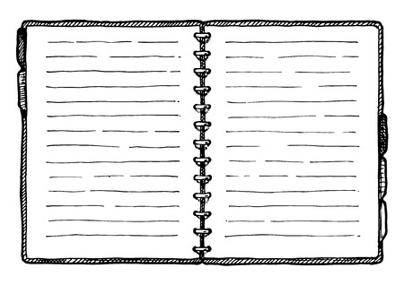 Hand drawn vector illustration of notebook in vintage engraved style. isolated on white background. Illustration