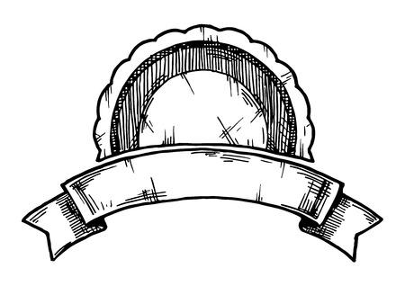 Illustrazione disegnata a mano vettoriale di etichetta retrò vintage stilizzata come incisione.