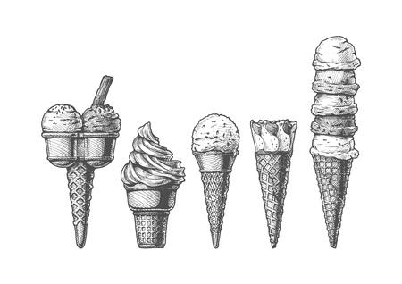 Vector hand getrokken illustratie van ijshoorntjes in vintage gegraveerde stijl instellen. geïsoleerd op witte achtergrond.