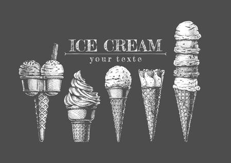 Vector hand drawn illustration of Ice cream cones set in vintage engraved style. on chalkboard Ilustração Vetorial