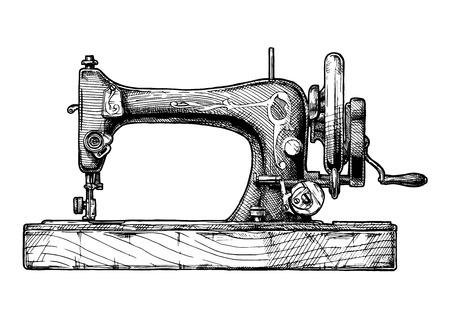 벡터 빈티지 재봉틀의 그려진 된 그림을 손으로. 흰색 배경에 고립.