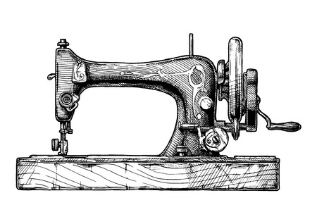 Vector hand drawn illustration of the vintage sewing machine. isolated on white background. Иллюстрация