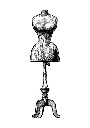 Old fashion dummy. Vector black-and-white illustration of mannequin in vintage engraved style.