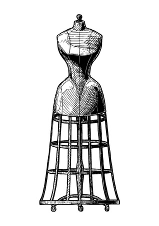 Dress-stand with bustle. Vector black-and-white hand drawn illustration of mannequin in vintage engraved style. isolated on white background. front view.