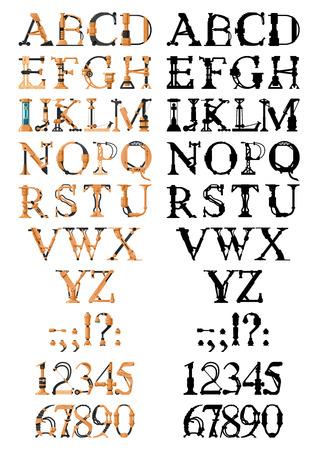 Lettre Steampunk composée de différentes pièces techniques: tuyaux, blocs, vis, etc. Banque d'images - 85118886