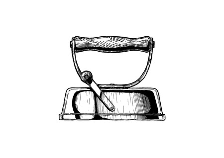 Smoothing iron with removable handle. Vector illustration.