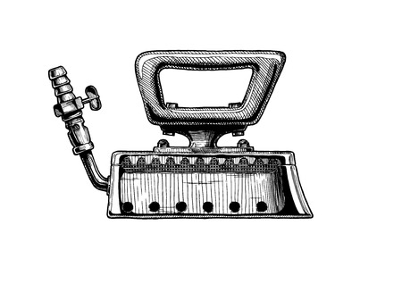Vector  illustration of clothes iron, gas smoothing.