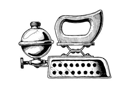 black history: Vector  illustration of petrol iron. Isolated on white background.