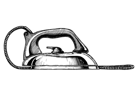 Vector illustration of clothes iron. Vintage electrical flatiron. Illustration