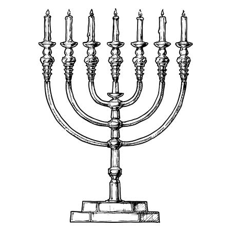 Croquis dessiné main Vector de Hanoukka menorah en style dessiné à la main d'encre.
