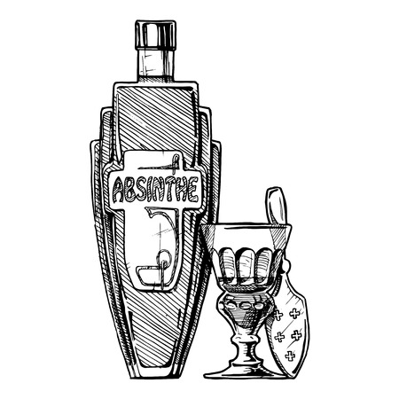 Vector hand drawn illustration of bottle of Absinthe with absinthiana in ink hand drawn style. isolated on white.