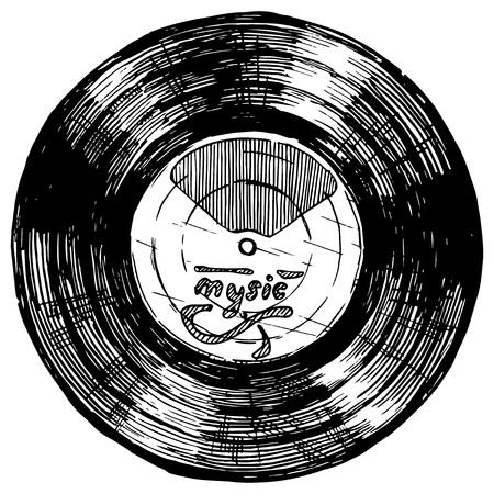 ●インク手描きスタイルでビニールレコードのベクトル手描き下ろしスケッチ。白で分離。