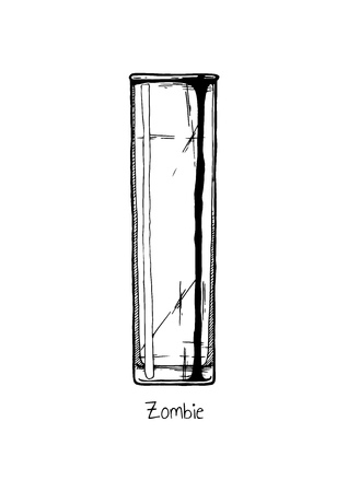 collins: Tumbler glass. Vector hand drawn illustration of Zombie in vintage engraved style. Isolated on white background. Illustration