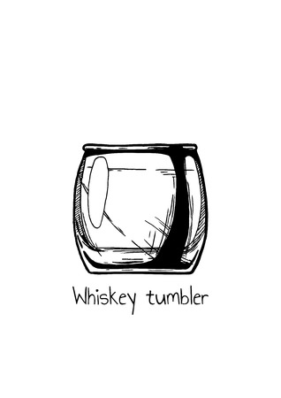 collins: Vector hand drawn illustration of Whiskey tumbler glass in vintage engraved style. Isolated on white background