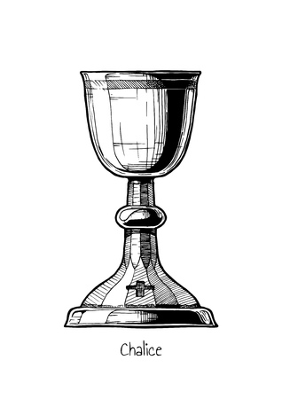 Stemware. Vector hand drawn illustration of Chalice in vintage engraved style. isolated on white background.