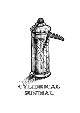 Vector hand drawn illustration of cylindrical sundial in vintage engraved style. isolated on white background.