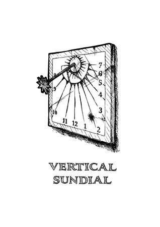 Vector illustration dessinée à la main du cadran solaire vertical dans un style gravé vintage. isolé sur fond blanc.