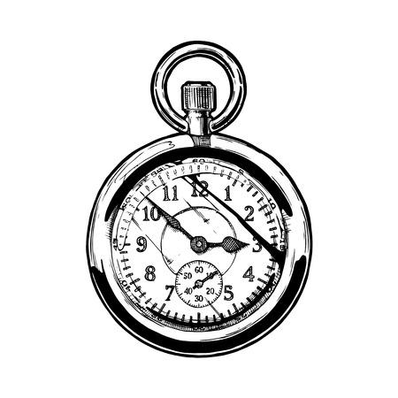 Ilustración de dibujado a mano de tinta de vector de reloj de bolsillo. Ilustración en blanco y negro. aislado en blanco