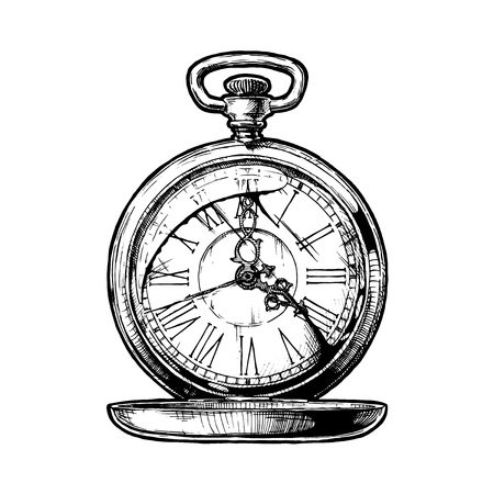Vector ink hand drawn illustration of pocket watch. Black and white illustration. isolated on white.