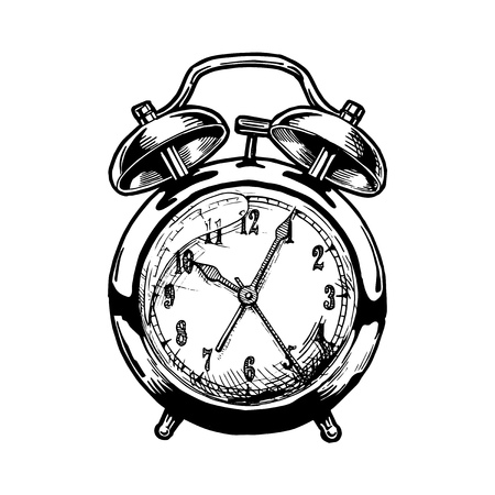 Vector hand drawn sketch of Alarm clock. Black and white illustration. isolated on white. Illustration