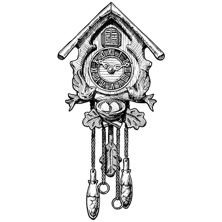 Vector hand drawn sketch of old Cuckoo clock. Black and white illustration. isolated on white.