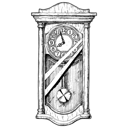 Vector hand drawn sketch of old pendulum clock. Black and white illustration. isolated on white