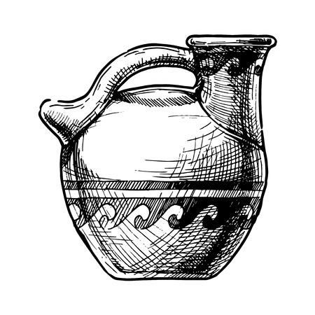 Vector hand drawn sketch of ancient greek vase. Askos, pottery vessel.