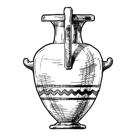 Vector dibujado a mano dibujo del vaso griego antiguo. Hidria