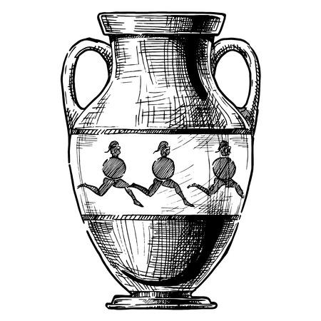 Amphora. Vector hand drawn sketch of ancient greek vase. Ilustração