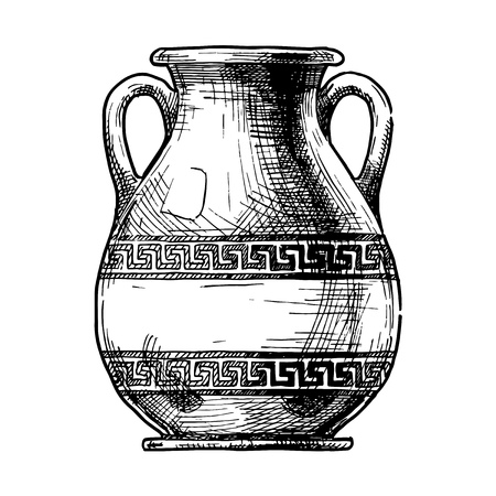 Pelike. Vector hand drawn sketch of ancient greek vase.
