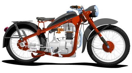 illustration of motorcycle. Simple gradients only - no gradient mesh.