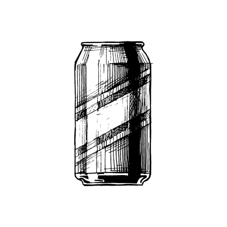 Beercan. Vector hand drawn sketch of beverage can in ink hand drawn style.  isolated on white.