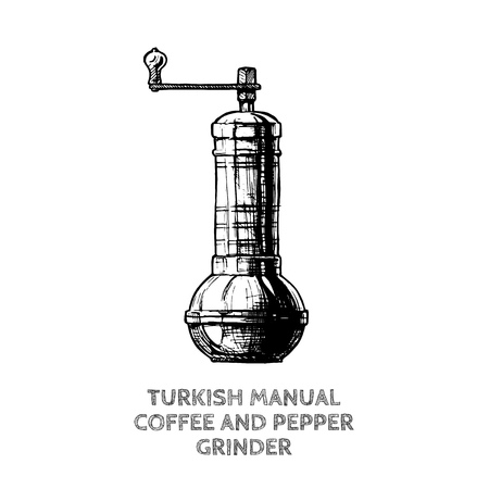 Vector hand drawn illustration of turkish manual coffee and pepper grinder. isolated on white. Stock Illustratie