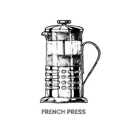 Vector hand drawn illustration of french press in vintage engraved style. isolated on white. Çizim