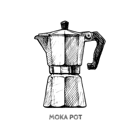 Vector hand drawn illustration of moka pot in vintage engraved style. isolated on white.