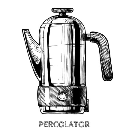Percolator. Vector hand drawn illustration of coffee machine in vintage engraved style. isolated on white.